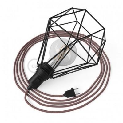 Table Snake, com abajur gaiola Diamond E27 em metal preto com ficha bipolar