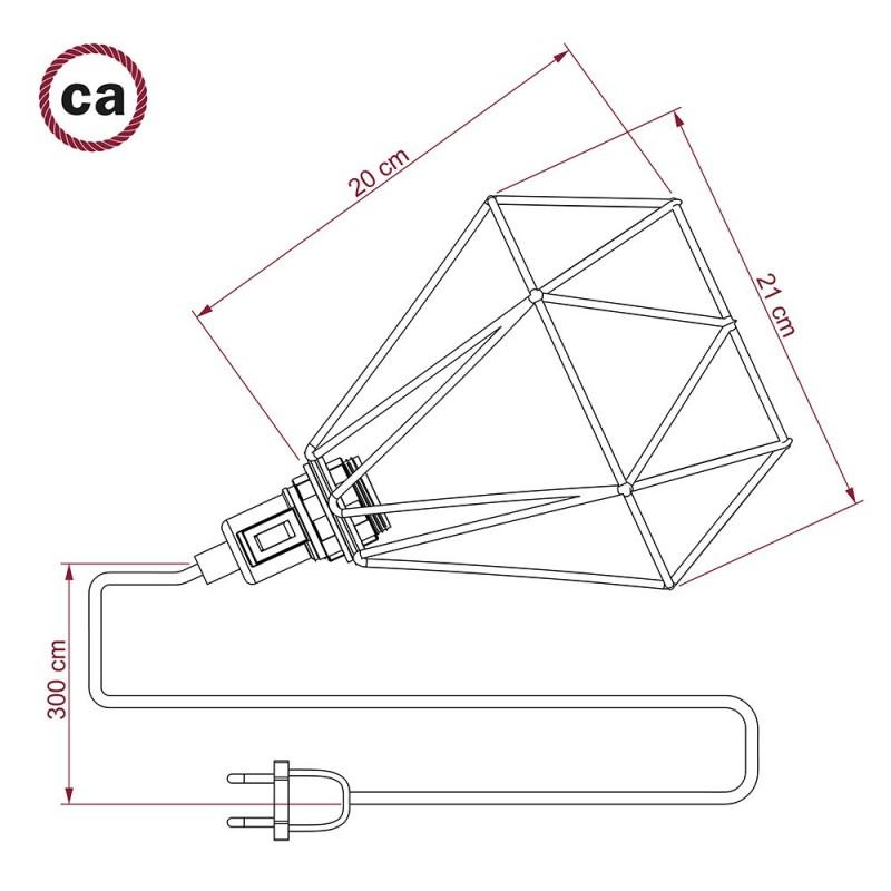 Table Snake, com abajur gaiola Diamond E27 em metal latão com ficha bipolar