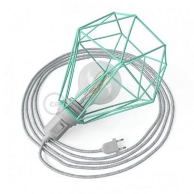 Table Snake, com abajur gaiola Diamond E27 em metal turquesa com ficha bipolar