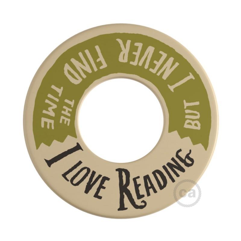 MINI-UFO: disco de madeira reversível da Coleção READING BALLSH*T, assunto 2 PAGES + LOVE READING