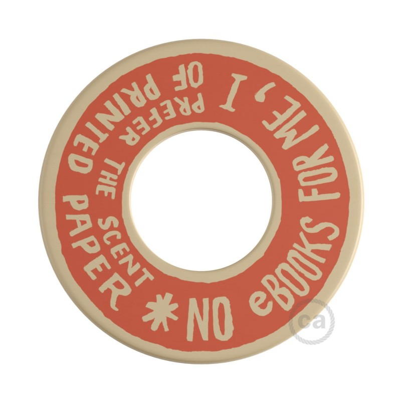 MINI-UFO: disco de madeira reversível da Coleção READING BALLSH*T, assunto PAGE + SCENT OF PAPER