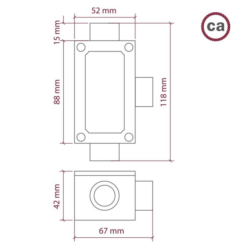 Caixa de junção de três saídas, em forma de T para Creative-Tube, caixa de alumínio