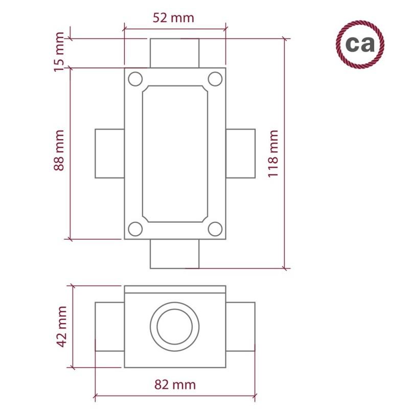 Caixa de junção de quatro saídas, em forma de X para Creative-Tube, caixa de alumínio