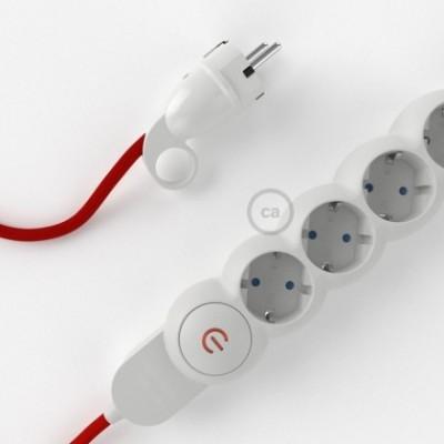 Extensão elétrica com cabo elétrico revestido em seda artificial Vermelho RM09 e ficha Schuko com anel confortavel