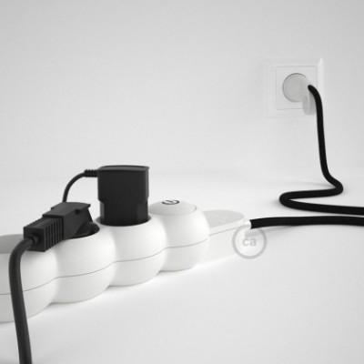 Extensão elétrica com cabo elétrico revestido em seda artificial Preto RM04 e ficha Schuko com anel confortavel