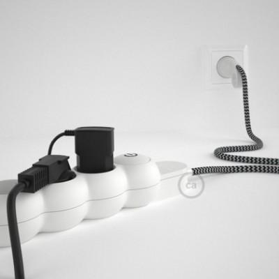 Extensão elétrica com cabo elétrico revestido em seda artificial zigzag Preto RZ04 e ficha Schuko com anel confortavel