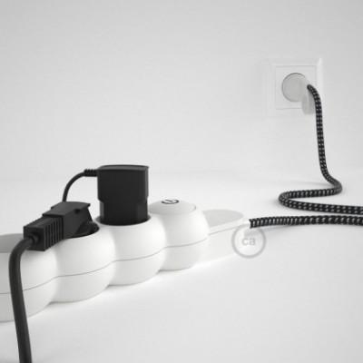 Extensão elétrica com cabo elétrico revestido em tecido efeito 3D RT41 Estrela e ficha Schuko com anel confortavel