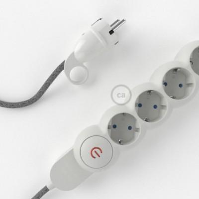 Extensão elétrica com cabo elétrico revestido em linho natural Cinzento RN02 e ficha Schuko com anel confortavel