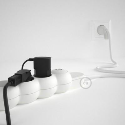 Extensão elétrica com cabo elétrico revestido em seda artificial Branco RM01 e ficha Schuko com anel confortavel