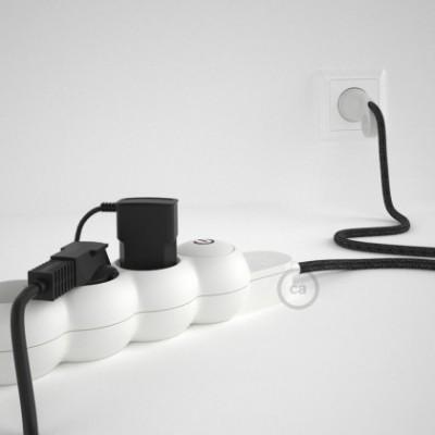 Extensão elétrica com cabo elétrico revestido em linho natural Antracite RN03 e ficha Schuko com anel confortavel