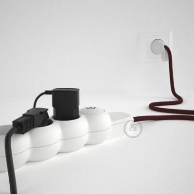 Extensão elétrica com cabo elétrico revestido em seda artificial Bordeaux RM19 e ficha Schuko com anel confortavel