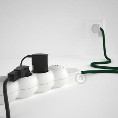 Extensão elétrica com cabo elétrico revestido em seda artificial Verde Escuro RM21 e ficha Schuko com anel confortavel