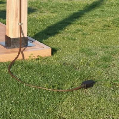 Caixa de derivação para cordão de luzes com adaptadores para cabos redondos e planos