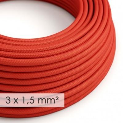 Cabo elétrico de seção grande 3x1,50 redondo - Seda artificial Vermelho RM09