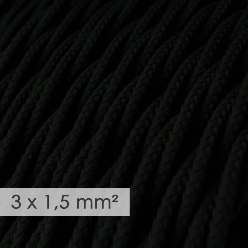 Cabo elétrico de seção grande 3x1,50 trançado - Seda artificial Preto TM04