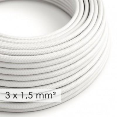 Cabo elétrico de seção grande 3x1,50 redondo - Seda artificial Branco RM01