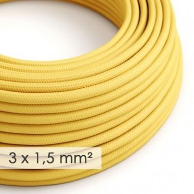Cabo elétrico de seção grande 3x1,50 redondo - Seda artificial Amarelo RM10