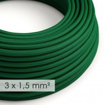 Cabo elétrico de seção grande 3x1,50 redondo - Seda artificial Verde Escuro RM21