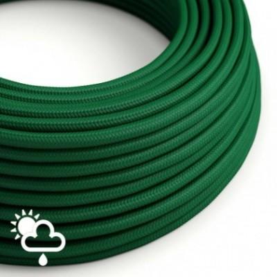 Cabo elétrico para exterior revestido em seda artificial Verde Escuro SM21