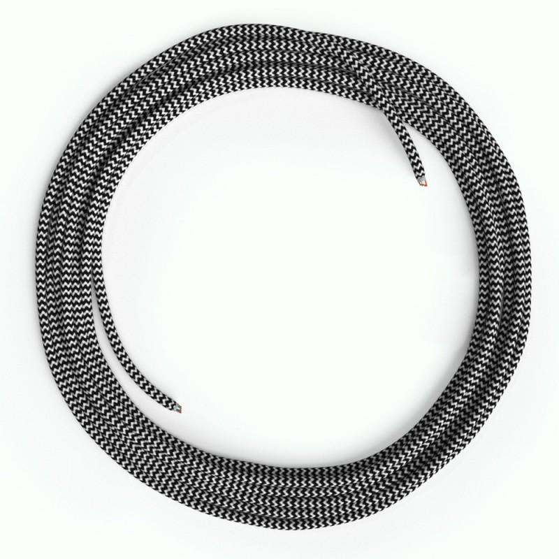 Cabo Ethernet LAN Cat 5e sem conectores RJ45 - Tecido Seda RZ04 ZigZag Preto