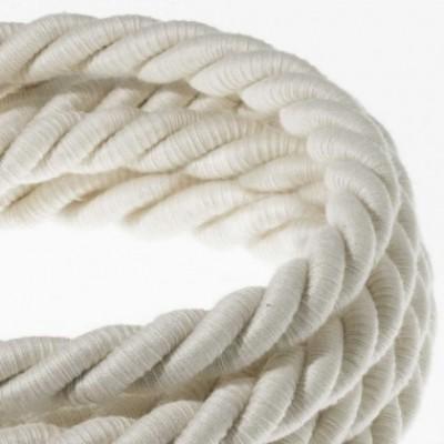 Cordão elétrico XL, cabo 3x0,75 revestido em algodão cru. Diâmetro de 16 mm.