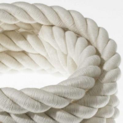 Cordão elétrico 2XL, cabo 3x0,75 revestido em algodão cru. Diâmetro de 24 mm.