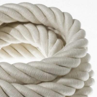 Cordão elétrico 3XL, cabo 3x0,75 revestido em algodão cru. Diâmetro de 30 mm.