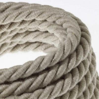 Cordão elétrico XL, cabo 3x0,75 revestido em linho natural. Diâmetro de 16 mm.