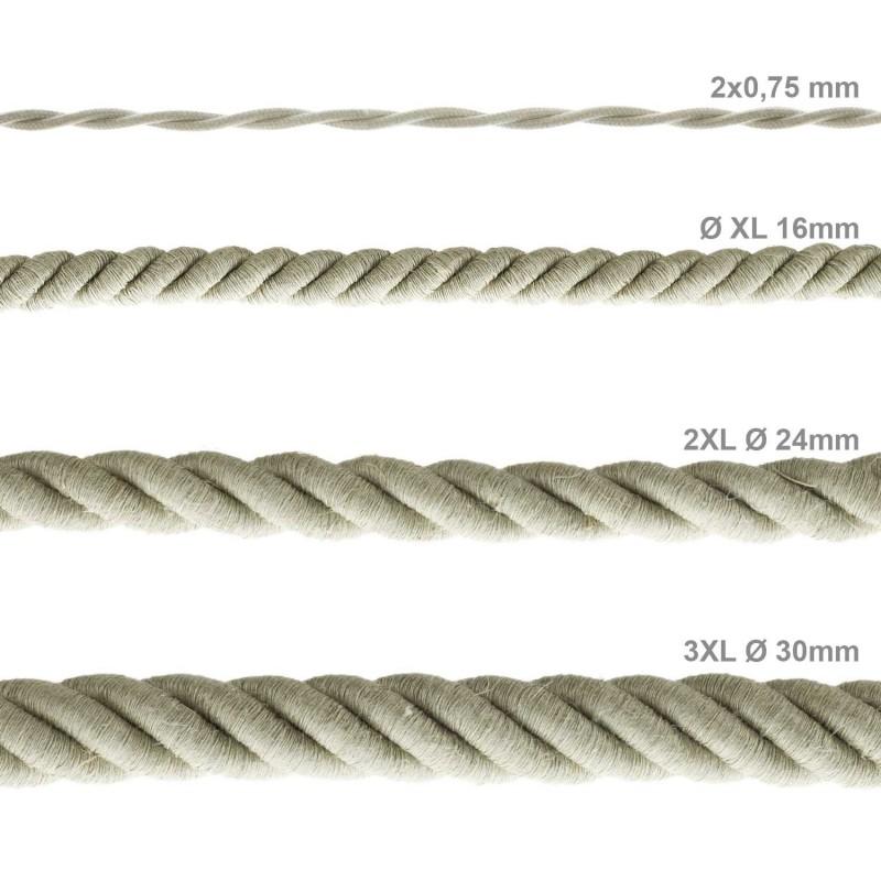 Cordão elétrico 3XL, cabo 3x0,75 revestido em linho natural. Diâmetro de 30 mm.