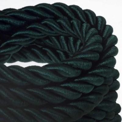 Cordão elétrico 2XL, cabo 3x0,75 revestido em verde escuo brilhante. Diâmetro de 24 mm.