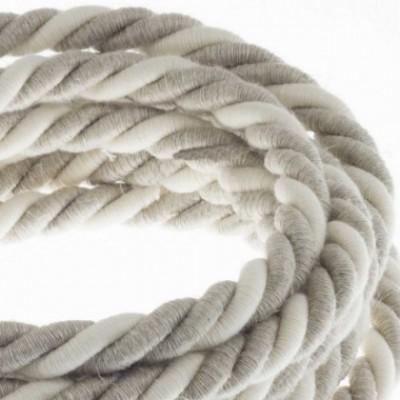 Cordão elétrico XL, cabo 3x0,75 revestido em linho natural e algodão cru. Diâmetro de 16 mm.