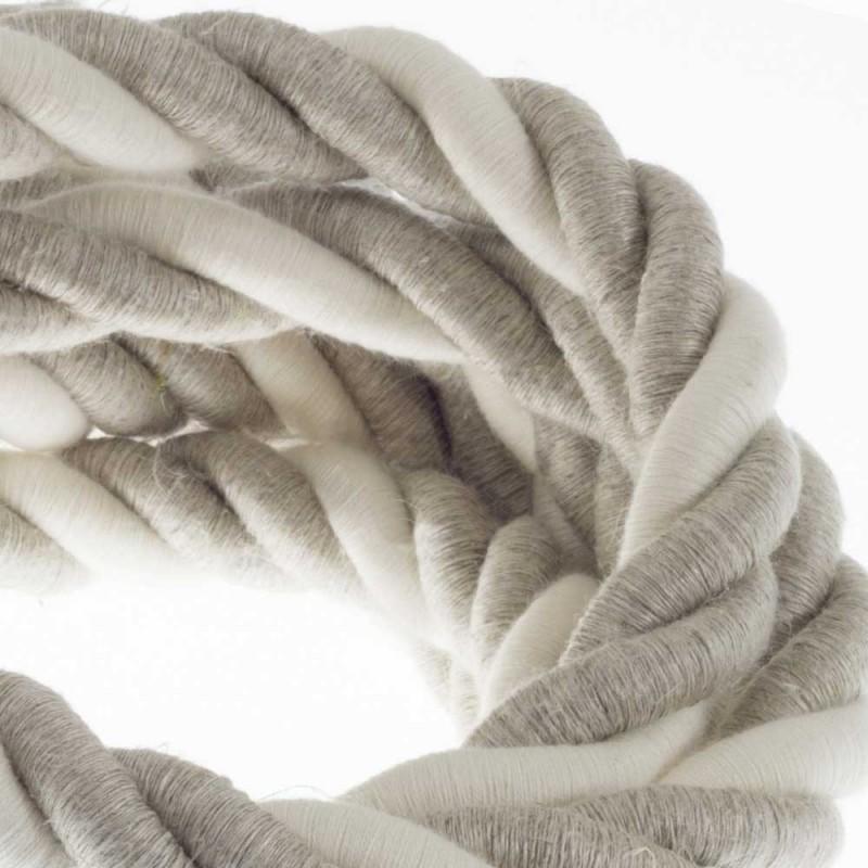 Cordão elétrico 2XL, cabo 3x0,75 revestido em linho natural e algodão cru. Diâmetro de 24 mm.