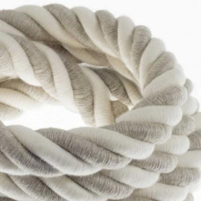 Cordão elétrico 3XL, cabo 3x0,75 revestido em linho natural e algodão cru. Diâmetro de 30 mm.