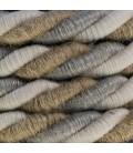 Cordão elétrico XL, cabo 3x0,75. Linho natural, tecido de algodão e cobertura de juta Country. Diâmetro 16 mm.