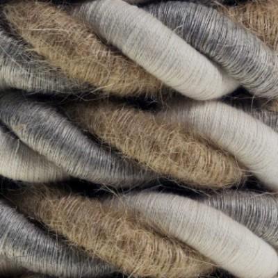 Cordão elétrico 2XL, cabo 3x0,75. Linho natural, tecido de algodão e cobertura de juta Country. Diâmetro 24 mm.