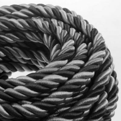 Cordão elétrico 2XL, cabo 3x0,75. Coberto por Tecido brilhante Orleans. Diâmetro 24 mm.