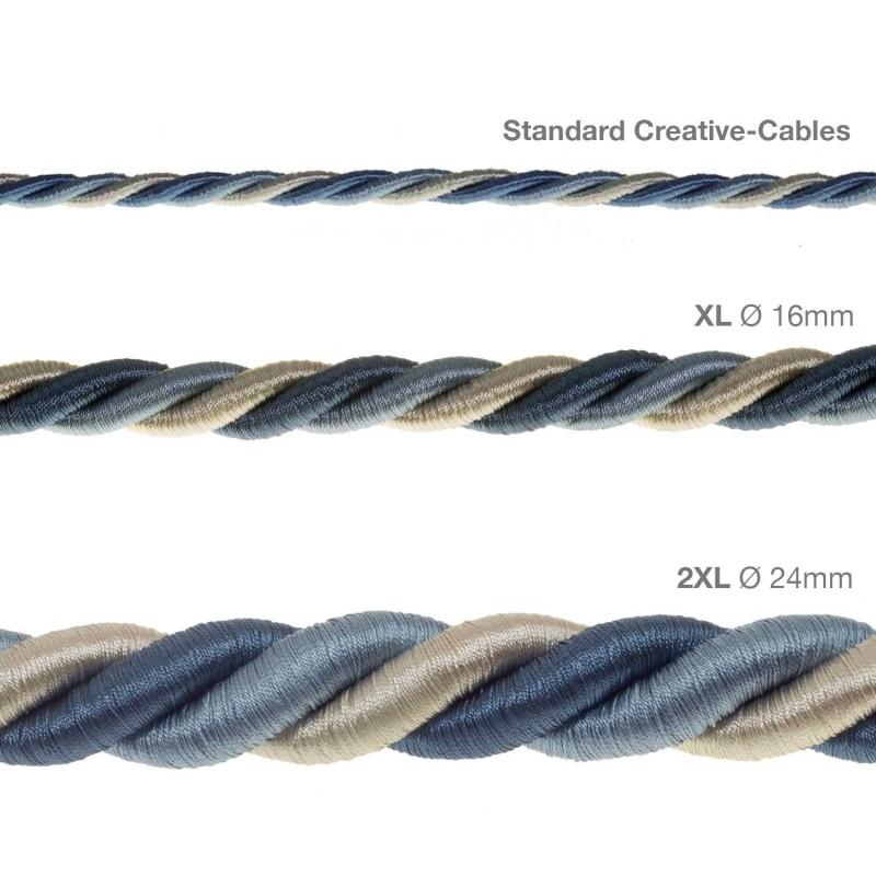 Cordão elétrico XL, cabo 3x0,75. Coberto por Tecido brilhante Bernadotte. Diâmetro 16 mm.