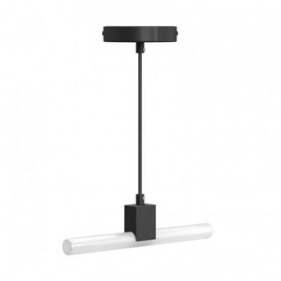 Luminária suspensa mininal com casquilho S14d Syntax e cabo seda preto RM04