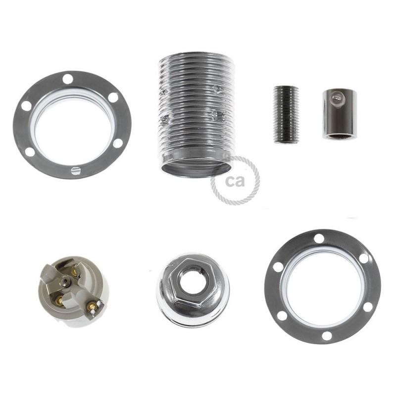 Kit de casquilho cilíndrico E14 em metal com união dupla para abajur