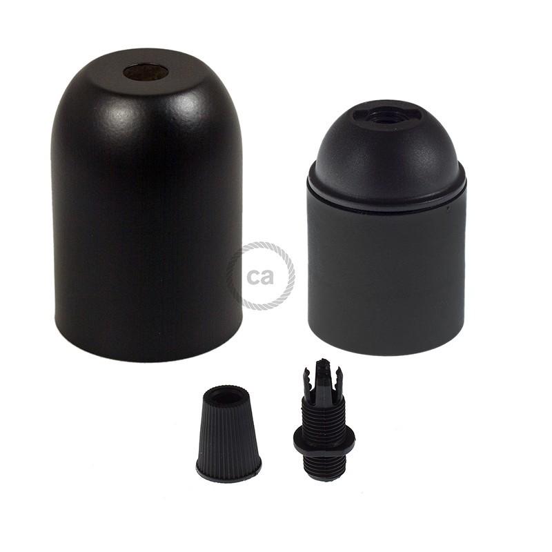 Kit de casquilho E27 em metal pintado meia esfera
