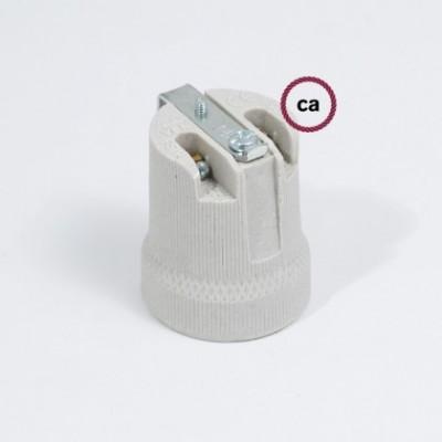 Kit de casquilho E27 com suporte interior em porcelana