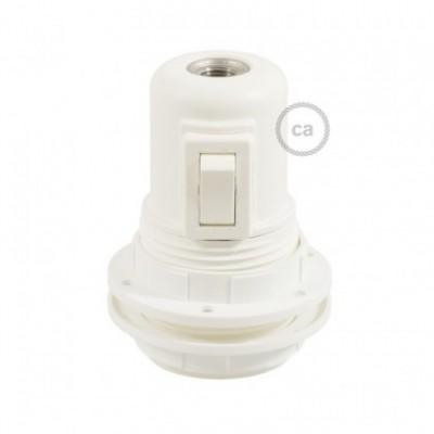 Kit de casquilho E27 termoplástico com união dupla para abajur com interruptor