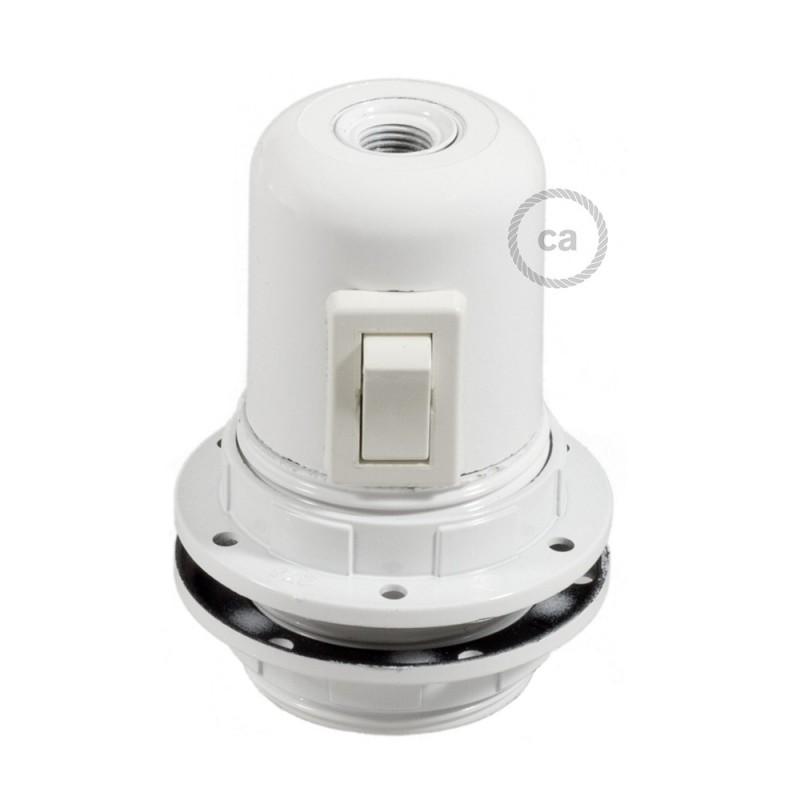 Kit de casquilho E27 em baquelite com união dupla para abajur com interruptor