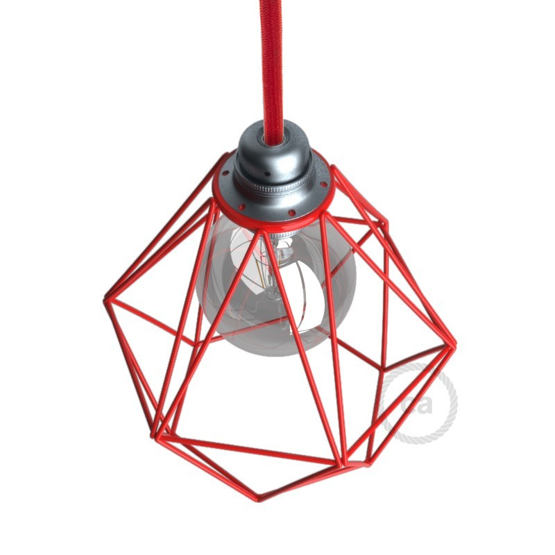 Abajur Diamond em metal com grade de lâmpada descoberta com encaixe E27