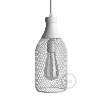 Abajur Jéroboam em metal com grade de lâmpada descoberta em forma de garrafa