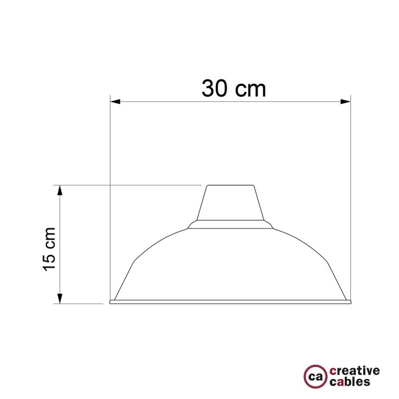 Abajur Bistrot em metal polido com encaixe E27, 30 cm de diâmetro