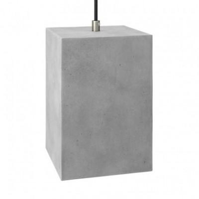 Abajur de cimento Cube para suspensão, com braçadeira de cabo e casquilho E27