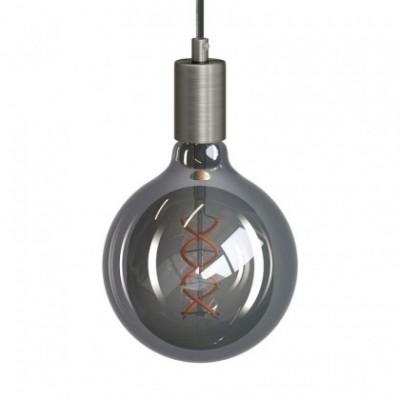 Candeeiro suspenso com cabo têxtil e detalhes em metal - Fabricado em Itália