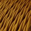 Candeeiro suspenso com cabo têxtil torcido e detalhes em porcelana - Fabricado em Itália