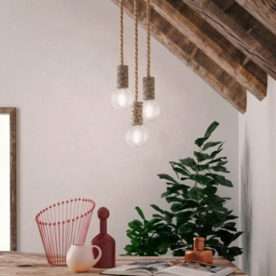 Candeeiro suspenso com cordão náutico XL e casquilho casca de árvore pequena - Fabricado em Itália